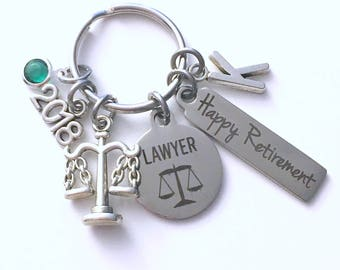 Retirement Gift for Lawyer Keychain, 2018 Judge Legal Scales Justice Keyring, Retire Key Chain, Present him her women Men Assistant Law