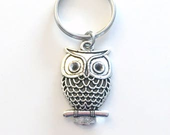 Owl Keychain, Owl Key Chain, Teacher's Keyring Jewelry, Nature Themed Party, Christmas Present Birthday Gift Filigree Charm pewter professor