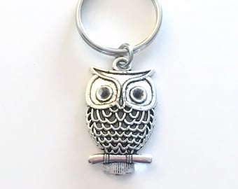 Owl Keychain, Owl Key Chain, Teacher's Keyring Jewelry, Nature Themed Party, Christmas Present Birthday Gift Filigree Charm pewter professor