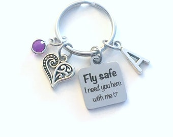 Fly safe I need you here with me Keychain, Valentines Day Present for Her Key Chain Mom, Flight Attendant, Daughter wife Keyring Stewardess