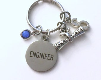 Engineer Keychain, Graduation Gift for Mechanical Key Chain, Science Keyring Initial letter men women her him civil industrial software air
