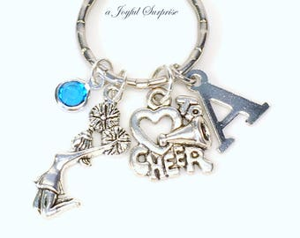 Cheerleading Keychain, Gift for Cheerleader Key chain, I love to Cheer Coach Team Color, Keyring Purse charm Planner birthstone initial mom