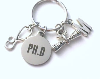 Graduation Gift for PH D Keychain, Key Chain, PHD Doctor Physician GP nurse Initial Birthstone Grad Present Keyring  women her dr