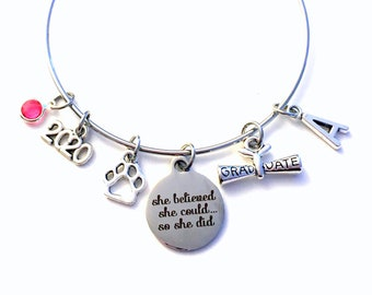 Gift for Veterinarian Graduation Bracelet, 2020 Assistant Technician Student Grad, Jewelry Graduate Student Charm Scroll Initial women