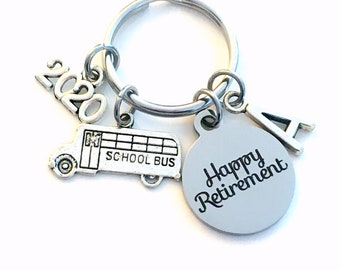 Retirement Gift for School Bus Driver Keychain, 2020 Crossing Guard Teacher Him Key chain Keyring Retire Coworker Initial letter men women