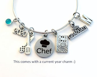 2021 Culinary Graduation Bracelet / Chef Grad Jewelry / Cooking Graduate Student Gift / Silver Charm Bangle / Cuisine Food Women Her