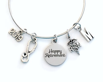RN Retirement Gift for RN Nurse, 2019 or other year Charm Bracelet Jewelry Silver Bangle Coworker Head initial women initial Present woman