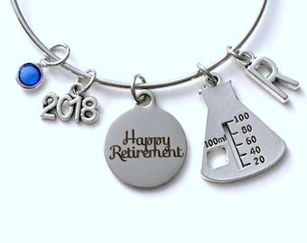 Retirement Gift for Chemist Laboratory Technician Tech Beaker Women Charm Bracelet Jewelry Silver Bangle Science initial birthstone Present