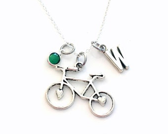 Bicycle Necklace, Silver Bike Jewelry, Gift for Cyclist, Triathlon Athlete Sport Vehicle initial birthstone Teenage Girl Teen Woman Women