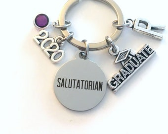 Graduation Gift for Salutatorian Keychain / 2020 Grad Mortarboard key chain / Graduate Keyring / for him her women men / College University