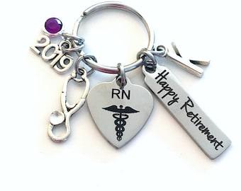 Registered Nurse Retirement Present, 2019 RN Keychain, Gift for Women or Men Retire, Key Chain Keyring him her Personalized Custom Nursing