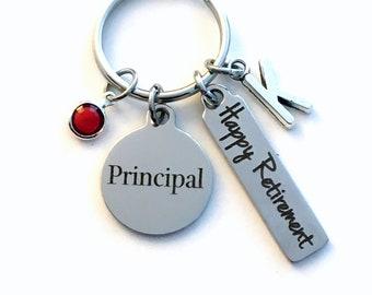 Retirement Gift for Principal KeyChain, School administrator Key Chain, Retired Present Keyring Jewelry Initial Birthstone present women men