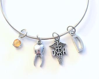Dental Hygienist Bracelet, DH Jewelry, Dentist Assistant DA Charm Bangle, Silver Medical Caduceus tooth, Gift for women birthstone her