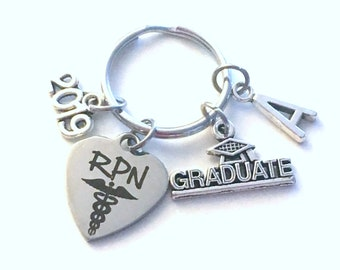 Graduation Present for RPN KeyChain, 2019 Registered Practical Nurse Practitioner Key Chain Grad Keyring Jewelry Initial him her men Scroll