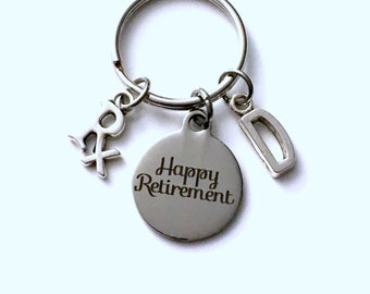 Retirement Gift for Pharmacist Keychain, 2019 Pharm Technician Pharmacy Researcher, Rx Key chain with letter Initial Retire present man