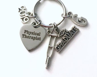 PT Keychain, 2019 Physical Therapist, Graduation Gift for Therapy Student Key Chain Grad Keyring Initial letter men guy Women her