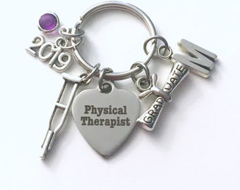 Physical Therapy Graduation Gift for PT Keychain,  2019 Therapist Student Key Chain Grad Keyring Initial letter men guy Women her him
