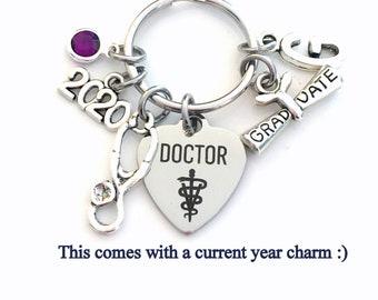 Veterinarian Keychain, 2021 Graduation Gift for Vet Key Chain Keyring for her women letter initial custom Scroll stethoscope him Student her