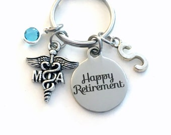 Retirement Gift for MA Keychain / Medical Assistant Key chain / Assist Caduceus Keyring / Happy Coworker him her Associate / Physician