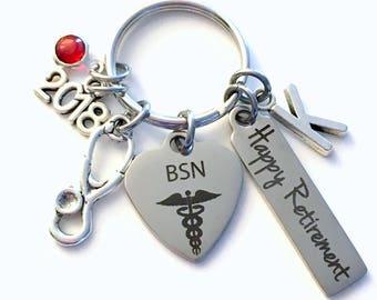 Retirement Gift for BSN Keychain, 2018 Bachelor of Science in Nursing Nurse Keyring, Retire Key Chain, Present him her women Men 2017 RN