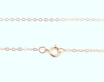 14K Rose Gold Filled Chain Necklace, 1.3mm Flat Cable, You pick the length 16, 18, 20, or 24 Inches, Simple Delicate Gift, Layering thin