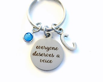 Everyone deserves a voice Keychain, Gift for Speech Therapist Key Chain, Activist Present Jewelry therapy Retirement women men Graduation