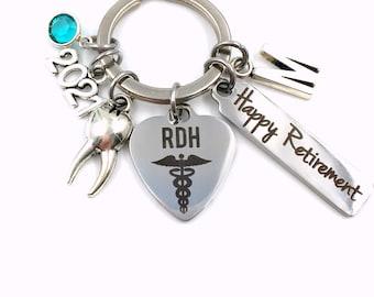 Retirement Gift for RDH Keychain / 2021 Registered Dental Hygienist Keyring / Dentist Retire Key Chain / RDH Present him her Assistant