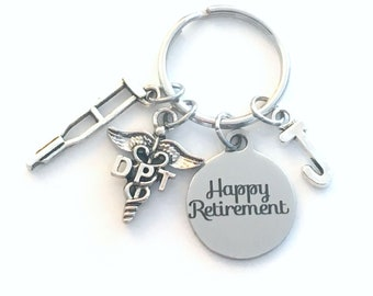DPT Keychain Retirement Key Chain, Doctor of Physical Therapy Caduceus, Therapist Keyring, Initial letter her him women crutches crutch