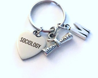 Sociology Graduation Gift, 2020 Keychain for Social Worker Student Grad University Key Chain Keyring Graduate letter initial College 2021