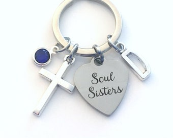 Soul Sisters Keychain, Best Friend Key Chain, Gift for Girlfriend keyring, BFF Religious Cross, women initial letter woman her personalized