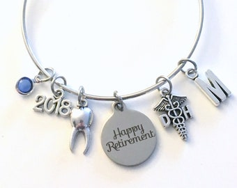 Retirement Gift for Dental Hygienist, 2018 Dentist Assistant Charm Bracelet Jewelry Silver Bangle Tooth initial birthstone Present DH DA her