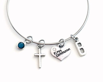 First Communion Bracelet, Gift for Niece from Godmother Present, 55mm Stainless Steel, Cross Charm, God Mother Daughter Goddaughter Aunt