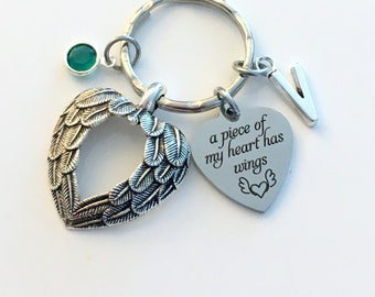Memorial Keychain / A piece of my heart has wings Key Chain / Loss of Loved one Gift / Sympathy for Son Daughter Wife Husband Present / Wing