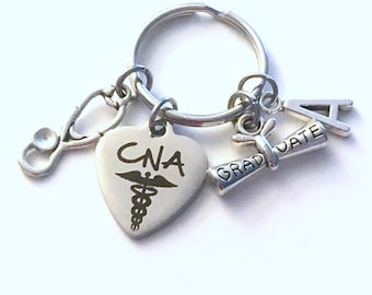 CNA Graduation Gift, 2021 Certified Nursing Assistant Keychain for Student Grad Key Chain Keyring Graduate initial letter 2022 Assistance