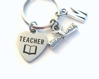Teacher Graduation Gift, 2020 Education Degree Keychain Gift for Teaching Student Grad Key Chain Keyring Graduate initial her him 2021