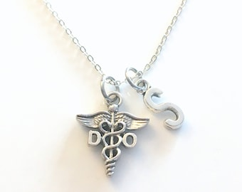 DO Necklace, Gift for Doctor of Osteopathic medicine, Osteopath Jewelry, Silver Caduceus Charm Personalized present men women him Canadian