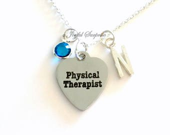 Physical Therapist Necklace, PT Jewelry, Gift for Physical Rehabilitation Therapy Personalized Initial Birthstone birthday Christmas present