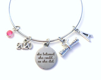 Graduation Gift for Her, Charm Bracelet High School College Grad 2020 Silver Bangle Jewelry She believed she could so she did 2020 2018 her