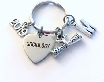 Sociology Graduation Gift, 2019 Keychain for Social Worker Student Grad University Key Chain Keyring Graduate letter initial College 2020