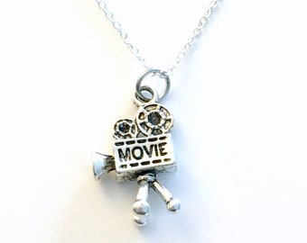 Gift for Wedding Photographer Necklace, Videographer Movie Camera Jewelry, Video Film Director Silver Film Student Teenager Boy Teenage son