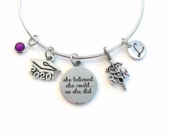 Gift for RN Graduation Present, 2020 Registered Nurse Bracelet, Nursing Charm Bangle She Believed She could so she did Silver Jewelry women