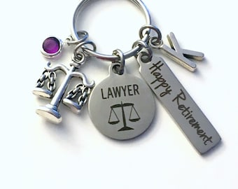Retirement Gift for Lawyer Keychain, Judge Legal Scales Justice Keyring, Retire Key Chain, Present him her women Men Assistant Law
