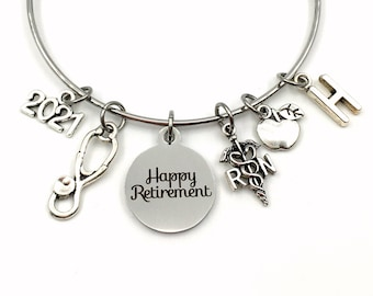 School Nurse Retirement Gift  / 2021 RN Charm Bracelet / Apple Jewelry / Silver Bangle / Coworker Present / Other years available 2022 2023