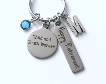 Retirement Gift for Child and Youth Worker Keychain,  Key chain Keyring women letter initial Social work Councillor Counselor Counsellor