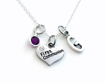 "First Communion Necklace / 16"" Chain / Gift for Daughter Jewelry / Silver Heart Charm / Boy Girl Son Niece Nephew Present Granddaughter"