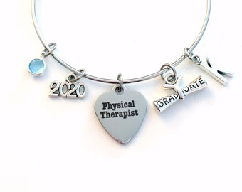 PT Graduation Gift, Physical Therapist Therapy Grad Charm Bracelet, 2021 Silver Bangle Jewelry Graduate letter birthstone her women girl HER