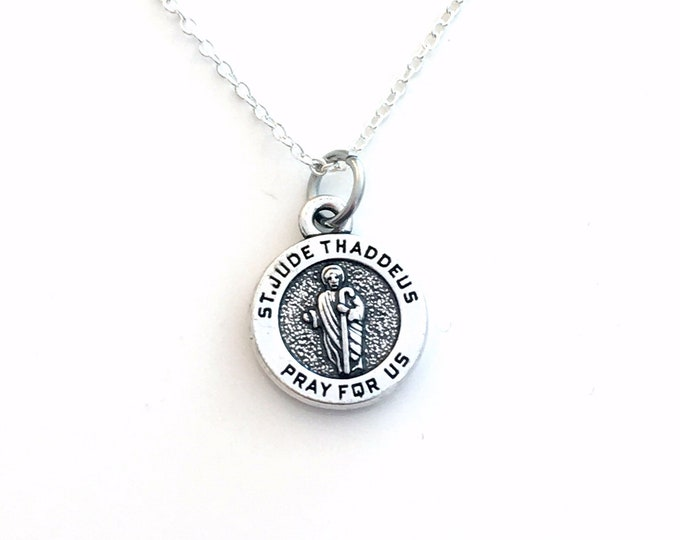 Featured listing image: St. Jude Medallion Necklace, Saint Judas Thaddeus Jewelry, Get Well Gift for illness charm Pendant Religious symbol Relic Catholic Silver