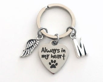Gift for Pet Loss Keychain, Always in my heart Key Chain, Dog Cat Kitty Doggie Keyring, Sympathy Letter initial paw print Present mom animal