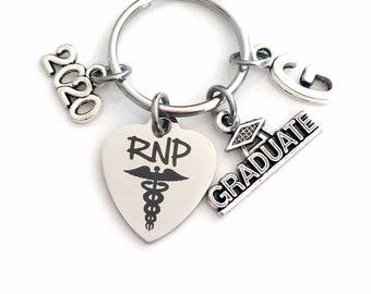 RNP Graduation Gift Key Chain, 2020 Registered Nurse Practitioner Gift for RPN Keyring Medical Stethoscope Keychain Grad Student 2021