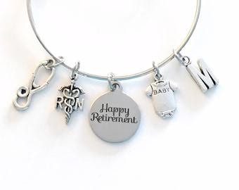Pediatric Nurse Retirement Gift 2020, RN Charm Bracelet Boss Jewelry Silver Bangle Coworker initial women initial custom Present her